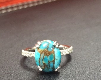 Gorgeous and Very Unique Turquoise Diamond Ring