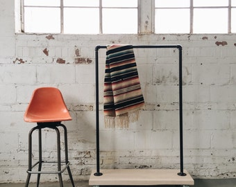 READY TO SHIP-Industrial Reclaimed Maple Standard Rolling Garment Rack