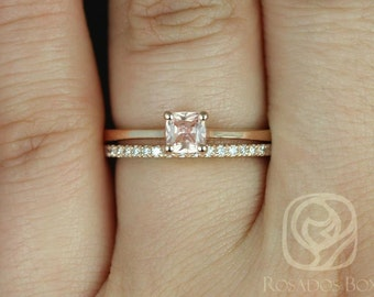 Rosados Box Gallina 0.45cts & DIA Barra 14kt Rose Gold Cushion Peach Champagne Sapphire Wedding Set
