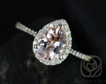 Rosados Box Tabitha 8x6mm 14kt Yellow Gold Pear Morganite  and Diamonds Halo Engagement Ring