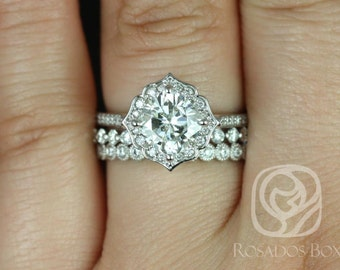 Rosados Box Rori 7mm, Pte Naomi, & Pte Bbl 14kt White Gold Cushion F1- Moissanite Diamond Halo WITHOUT Milgrain TRIO Wedding Set