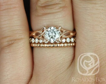 Rosados Box Orla 6mm, Pte Naomi, & Bdha Bds 14kt Rose Gold Round F1- Moissanite and Diamonds Celtic Knot TRIO Wedding Set