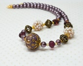 Eclectic bead statement necklace Chunky boho necklace Purple big bold beaded necklace Bohemian jewelry for women