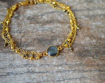 Delicate labradorite bracelet Multi layer bracelet Gold chain bracelet w/ pyrite dangles Gemstone bezel bracelet Multistrand bracelet