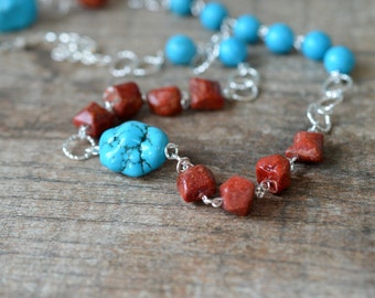 Chunky turquoise nugget necklace Extra long beaded chain necklace Red coral necklace Turquoise necklace