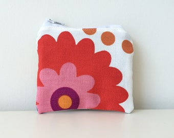 Colorful Floral Ruffle Coin Pouch - Zippered - Small Pretty Flower Pouch - Mini Coin Bag - Tiny Coin Purse - Ikea Fabric - Flowers - Girly