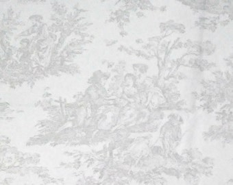 Jamestown toile fabric/gray/white/french country/home decor fabric