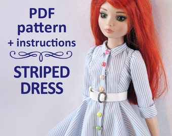 PDF pattern Striped Dress for 16 inch doll Minifee Ellowyne Wilde