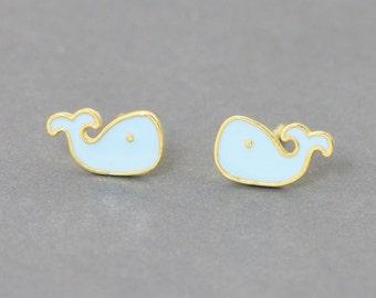 Light Blue Enamel Whale Earrings - Whale Stud Earrings - Gold Plated Sterling Silver