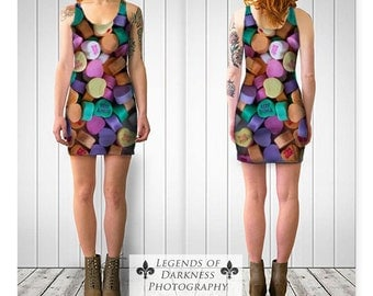 Conversation Hearts Dress - slim and flared styles, candy wearable art, fine photography limited edition fashion, Valentine's Day. bodycon