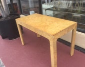 Henredon Mid Century Modern Classic Parson Style Burl wood desk
