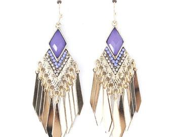 Elegant Gold Tone Purple Similar Fringe Dangle Drop Earrings,P4