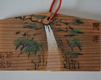 Japanese ema, hand painted  or screen printed wood #67