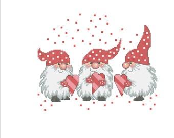 Gnomes. Machine embroidery design.