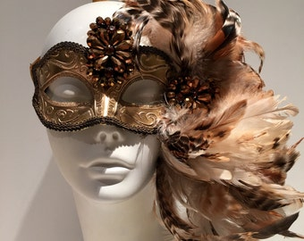 Gold Mask for Masked Ball- Save Venice -Masquerade Mask- Costume party mask- Purim- Masquerade Ball- Mardi Gras Mask-Masked Ball- Gold Masq