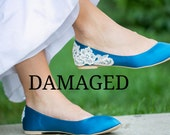 Damaged Flat - Teal Blue Bridal Flats/ Teal Wedding Shoes, Teal Flats, Satin Flats with Ivory Lace. US Size 7