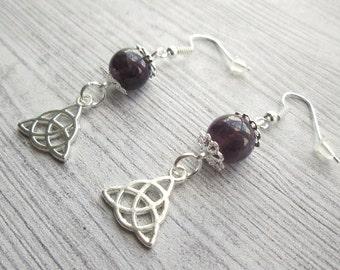 Triquetra earrings, Pagan earrings, Trinity Knot earrings, Wiccan earrings, Christmas gift, yule gift, Witch earrings, Celtic knot earrings