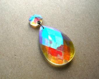 1 Large Vintage Chandelier Prism - Shabby Chic Glass Prism - Antique Prism