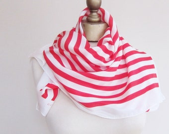 SILK scarf, red white stripes, striped silk scarf, square silk scarf, hair scarf, classic neck scarf