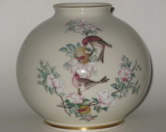 Beautiful Large Lenox Porcelain Serenade Round Centerpiece Globe Vase Hand Decorated w 14K Gold Painted Birds, Pink Dogwood Blossom Flowers