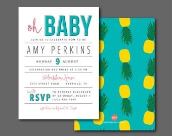 Pineapples // Baby Shower Invitation - Printable Digital File