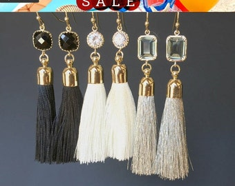Tassel Earrings, White earrings, Gray earrings, Black earrings, Summer Wedding Jewelry Bridesmaid Jewelry Bridal Jewelry