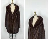 60s Brown Mink Stroller Coat • 1960s Mid Length Fur Jacket • Monogrammed Warm Winter Outerwear • Oversized • Large