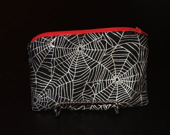 Small Silver Spiderweb Pouch with Red Lining - Zipper Pouch, Halloween, Spiderwebs, Silver, Unique, Spooky, Makeup Bag, Clutch, Catch-All