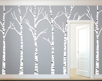 Back To School SALE Birch Trees Silhouettes Forest - Wall Decal Custom Vinyl Art Stickers