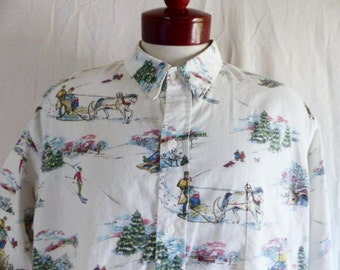 vintage 70's 80's Reyn Spooner ivory white pastel winter snow landscape ski sled scene button up shirt short sleeve collar shirt xxl