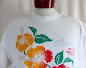 aloha vintage 80's 90's HIbiscus Hawaii State Flower white graphic t-shirt red green yellow floral print logo extra long night t-shirt dress