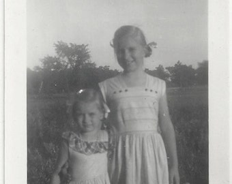 Old Photo 2 Girls wearing Dresses Outside 1940s Photograph snapshot vintage