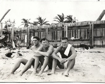 Od Photo Men at the Beach wearing Swimsuits 1940s Photograph snapshot Vintage