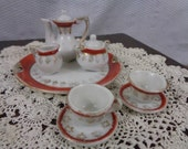 Dollhouse Miniature Tea Set, Miniature Antique China Tea Set
