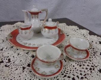Dollhouse Miniature Tea Set, Miniature Antique China Tea Set