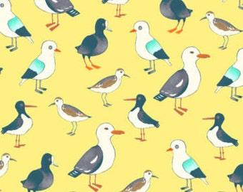 Fat Quarter Seagulls Gulls Water Fowl Birds 100% Cotton Quilting Fabric Yellow
