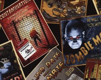 Fat Quarter Horror Movie Postcard Zombies Undead 100% Cotton Quilting Fabric