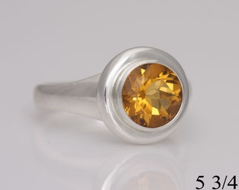 Citrine ring, sterling silver and citrine  ring, size 5 3/4, #687.