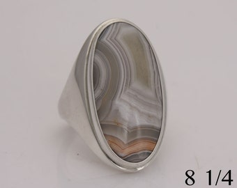 Crazy lace agate in a signet style sterling silver ring, size 8 1/4, #716.