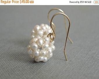 ON SALE Pearl Cluster Earrings