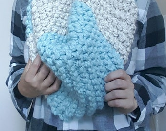 Oversized Bulky Infinity Knit Cowl / Scarf in Light Blue and Marble White