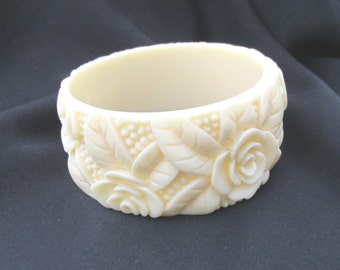 Vintage Celluloid cream relief pressed rose design bangle bracelet