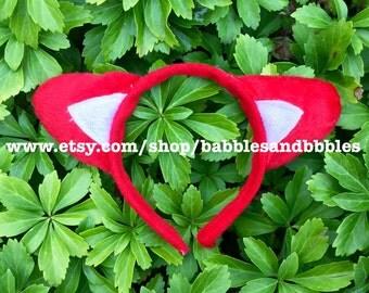 Comfortable Red Fox Ears - Red Dog Ears Headband Halloween Costume - Fox Ears - Fox Costume - Cat Ears - Dog Costume - NEXT DAY SHIPPING
