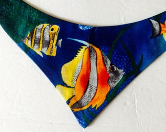 Dog Bandana, Fish Print Dog Bandana, Small Dog Bandana, Ready to Ship, Neck Size 14 to 16 Inches