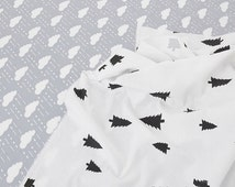 "92"" Width Light Grey White Cotton Fabric, Cloud Pin Trees Cotton Fabric, Baby Kids Girl's Quilting Fabric - 1/2 yard"