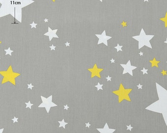 Grey Gray Cotton With Flower Crown Stars, Stars Crown Geometric Flower Cotton Fabric, Quilting Fabric