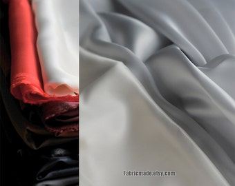 Solid 100% Cotton BEMBERG Lining Fabric In Red Grey White For High Class Clothes Coat Dress Garment- 1/2 yard