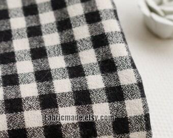 Cotton Fabric Classical White Black Plaid Cotton Brushed Yarn Dye Plaid Cotton Soft- 1/2 yard