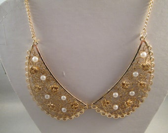 Gold Tone Collar Necklace with Gold Tone Flowers and White Pearl Beads on a Gold Tone Chain