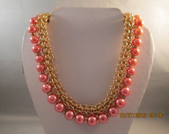 Gold Tone Chain Choker Necklace with Pink Pearls and Clear Rhinestone Spacers